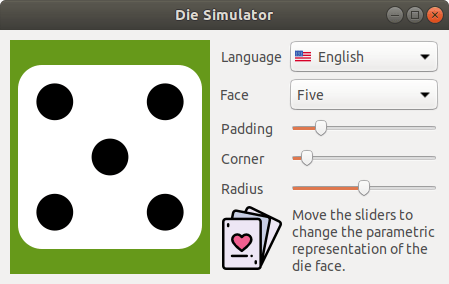 Capture of the Die application in Linux.