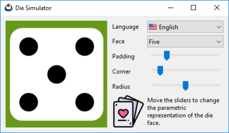 Capture of the Die application in Windows.
