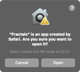 MacOS message before opening a third-party app.