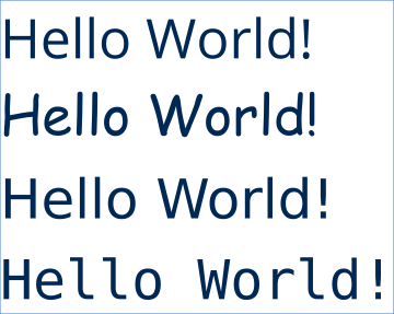 Hello World text written using different fonts.
