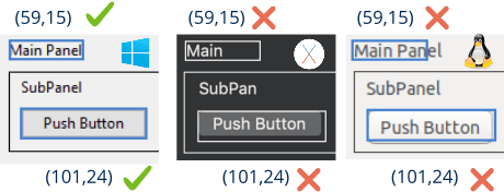 Controles Label y Button en Windows, macOS y Linux.