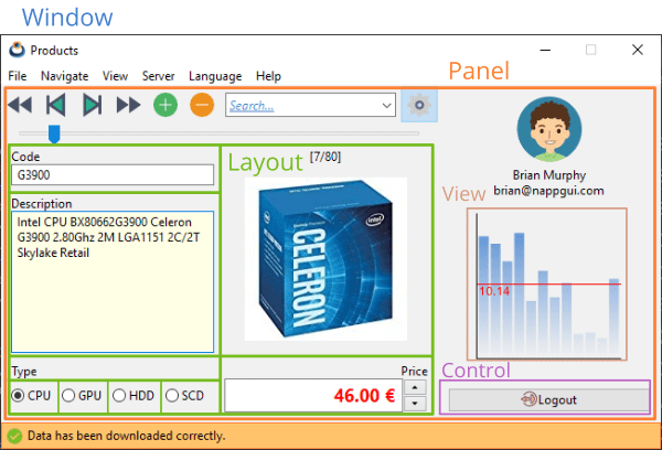 Interface window where the most important parts are highlighted.