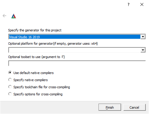 Capture the CMake dialog to set the generator.