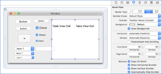 Capture of the interface editor included in Xcode.